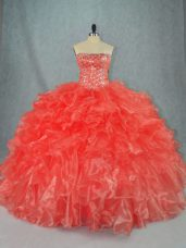 Beading and Ruffles Ball Gown Prom Dress Red Lace Up Sleeveless Floor Length