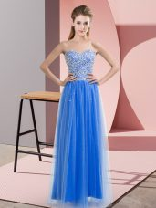 Captivating Blue Empire Sweetheart Sleeveless Tulle Floor Length Lace Up Beading Prom Evening Gown