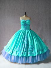 Aqua Blue Sleeveless Floor Length Embroidery Lace Up Vestidos de Quinceanera