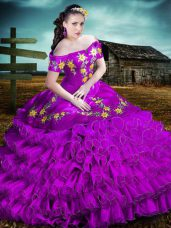 Customized Ball Gowns Ball Gown Prom Dress Purple Off The Shoulder Organza Sleeveless Floor Length Lace Up
