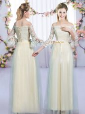 Glamorous Champagne 3 4 Length Sleeve Tulle Lace Up Bridesmaids Dress for Wedding Party