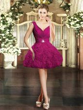 V-neck Sleeveless Homecoming Dress Online Mini Length Beading Fuchsia Fabric With Rolling Flowers