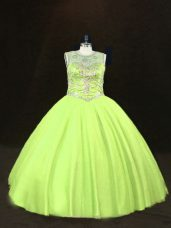 Flirting Yellow Green Ball Gowns Tulle Scoop Sleeveless Beading Floor Length Lace Up Vestidos de Quinceanera
