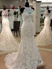 Custom Made White Mermaid Lace High-neck Sleeveless Lace Clasp Handle Wedding Dresses Brush Train