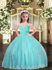 Sleeveless Tulle Floor Length Lace Up Little Girls Pageant Dress in Aqua Blue with Appliques