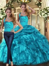 Dramatic Floor Length Two Pieces Sleeveless Teal Sweet 16 Dresses Lace Up