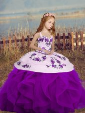 Custom Fit Embroidery and Ruffles Little Girls Pageant Dress Wholesale Purple Lace Up Sleeveless Floor Length