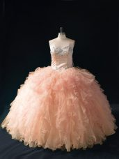 Sweetheart Sleeveless Quince Ball Gowns Floor Length Beading and Ruffles Peach Tulle