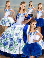 Lovely Blue And White Off The Shoulder Lace Up Embroidery and Ruffles Sweet 16 Quinceanera Dress Sleeveless