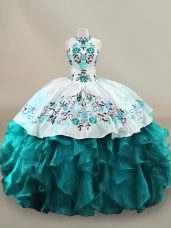 Lovely Teal Halter Top Neckline Embroidery and Ruffles Quinceanera Dresses Sleeveless Lace Up