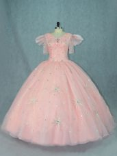 Floor Length Zipper Quinceanera Dresses Peach for Sweet 16 and Quinceanera with Beading