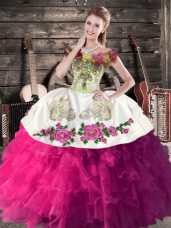 New Style Floor Length Ball Gowns Sleeveless Fuchsia Ball Gown Prom Dress Lace Up