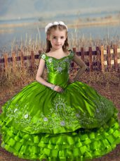 Ball Gowns Satin and Organza Off The Shoulder Sleeveless Embroidery and Ruffled Layers Floor Length Lace Up Pageant Dress for Teens