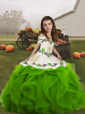 Straps Sleeveless Pageant Gowns For Girls Floor Length Embroidery and Ruffles Green Organza
