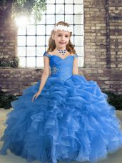 Blue Sleeveless Floor Length Beading and Ruffles and Pick Ups Lace Up Juniors Party Dress