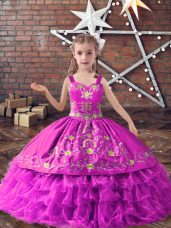 Excellent Lilac Ball Gowns Straps Sleeveless Satin and Organza Floor Length Lace Up Embroidery and Ruffled Layers Girls Pageant Dresses