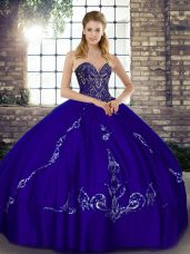 Cute Purple Ball Gowns Sweetheart Sleeveless Tulle Floor Length Lace Up Beading and Embroidery Quinceanera Dress
