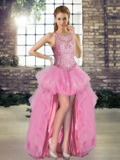 Pretty Sleeveless Beading Lace Up Pageant Dresses