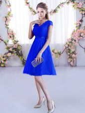 Dramatic Cap Sleeves Lace Mini Length Lace Up Vestidos de Damas in Royal Blue with Lace
