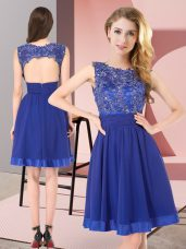 Glorious Scoop Sleeveless Backless Vestidos de Damas Royal Blue Chiffon