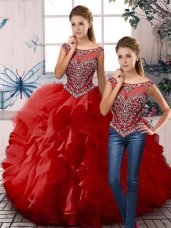 Sleeveless Floor Length Beading and Ruffles Zipper Quinceanera Dress with Red
