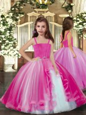 Floor Length Lilac Little Girl Pageant Gowns Straps Sleeveless Lace Up