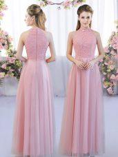 Pink Empire Tulle High-neck Sleeveless Lace Floor Length Zipper Bridesmaid Dresses