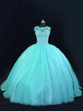 Hot Sale Aqua Blue Sleeveless Beading and Lace Floor Length Sweet 16 Dress