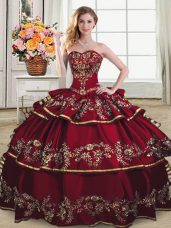Ideal Wine Red Quince Ball Gowns Sweet 16 and Quinceanera with Embroidery and Ruffled Layers Sweetheart Sleeveless Lace Up