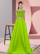 Elastic Woven Satin Sleeveless Prom Dress Sweep Train and Beading
