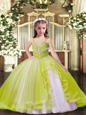 Floor Length Yellow Green Little Girl Pageant Dress Straps Sleeveless Lace Up