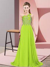 Noble Sleeveless Floor Length Beading Side Zipper Formal Dresses with Yellow Green