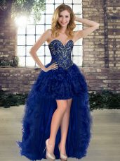 High End Royal Blue Sweetheart Lace Up Beading and Ruffles Glitz Pageant Dress Sleeveless