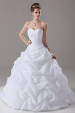 Ball Gowns Sleeveless White Wedding Dress Brush Train Lace Up