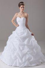 Ball Gowns Sleeveless White Wedding Dress Brush Train Lace Up