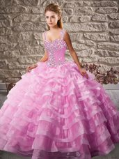 Floor Length Ball Gowns Sleeveless Pink 15 Quinceanera Dress Court Train Lace Up