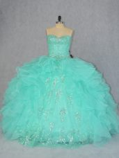 Luxurious Sleeveless Beading and Ruffles Lace Up Sweet 16 Dresses