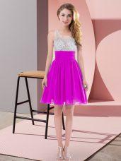 Fuchsia Empire Chiffon Scoop Sleeveless Beading Mini Length Side Zipper Court Dresses for Sweet 16
