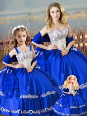 Ideal Floor Length Royal Blue Quinceanera Gown Satin Sleeveless Beading and Embroidery