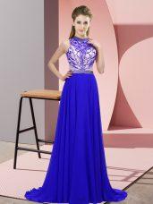 Custom Designed Blue Halter Top Neckline Beading Prom Dresses Sleeveless Backless