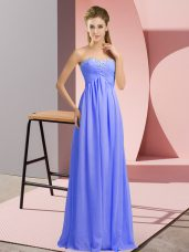 Glorious Lavender Lace Up Homecoming Dress Online Beading Sleeveless Floor Length