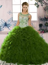 Free and Easy Scoop Sleeveless Organza Ball Gown Prom Dress Beading and Ruffles Lace Up