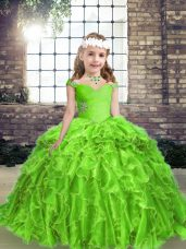 Sleeveless Organza Floor Length Lace Up Little Girl Pageant Gowns in with Beading and Ruffles
