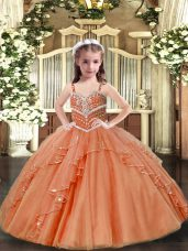 Enchanting Peach Sleeveless Floor Length Beading Lace Up Pageant Dress