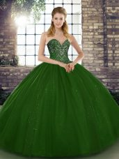 Green Sweetheart Lace Up Beading Ball Gown Prom Dress Sleeveless