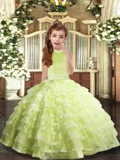 Halter Top Sleeveless Organza Kids Pageant Dress Beading and Ruffled Layers Backless