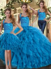 Glittering Sleeveless Tulle Floor Length Lace Up Sweet 16 Quinceanera Dress in Blue with Ruffles