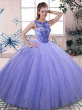 Lavender Sleeveless Floor Length Beading Lace Up 15th Birthday Dress