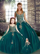 Custom Fit Peacock Green Quince Ball Gowns Military Ball and Sweet 16 and Quinceanera with Beading and Appliques Straps Sleeveless Lace Up