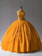 Low Price Orange Ball Gown Prom Dress Sweet 16 and Quinceanera with Beading Halter Top Lace Up
